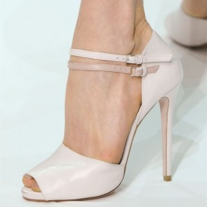 Nude Stiletto Heels Sandals Peep Toe Ankle Strap Heel Pumps