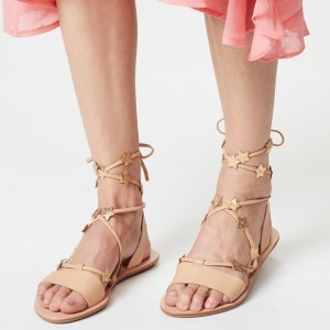 Nude Strappy Stars Comfortable Flats