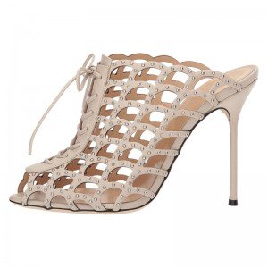 Nude Studs Caged Lace Up Mule Heels Sandals