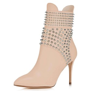 Nude Studs Shoes Stiletto Heel Ankle Boots