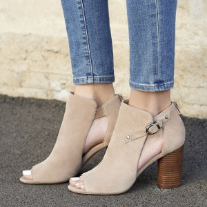 Beige Cut Out Boots Suede Cylindrical Heel Peep Toe Ankle Boots