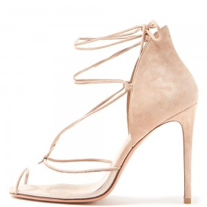 Nude Suede Clear PVC Peep Toe Stiletto Heel Strappy Sandals