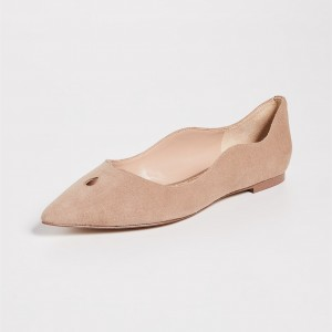 Nude Suede Curvy Hole Comfortable Flats