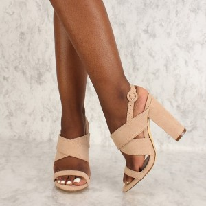 Nude Suede Slingback Heels Cross Over Chunky Heel Sandals