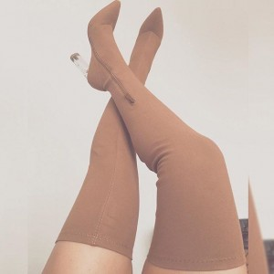Nude Lycra Thigh High Heel Boots Stiletto Heel Boots