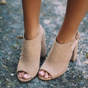 Nude Vegan Shoes Peep Toe Chunky Heel Slingback Summer Booties