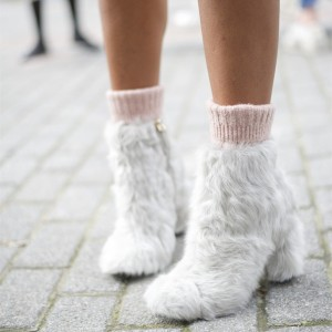 Off White Fur Boots Chunky Heel Ankle Boots