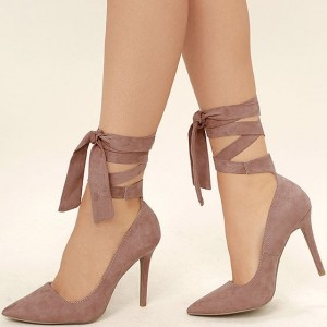 Taupe Strappy Heels Pointy Toe Suede Pumps Stiletto Heels
