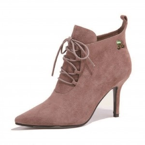 Old Pink Suede Pearl Lace up Boots Pointy Toe Stiletto Heel Boots
