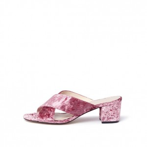 Old Pink Velvet Mule Heels Open Toe Block Heels Sandals