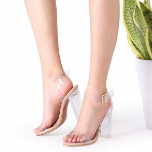 Open Toe Chunky Heel Clear Sandals Perspex Shoes US Size 3-15