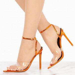 Orange Ankle Strap Sandals Open Toe Clear High Heels Sandals