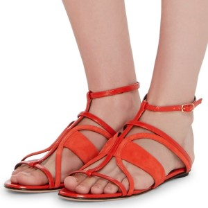 Orange Open Toe Flats Cut out Beach Sandals