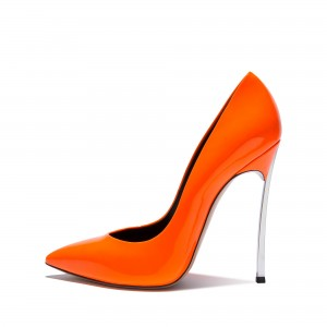 FSJ Shoes Orange Super Stiletto Heels Pointy Toe Patent Leather Pumps
