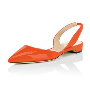 Orange Patent Leather Slingback Shoes Pointy Toe Comfortable Flats