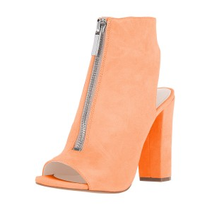 Orange Peep Toe Chunky Heels Zip Comfortable Suede Mules Sandals