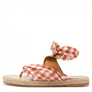 Orange Plaid Cross Over Ankle Strap Flat Sandals