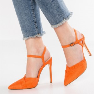 Orange Pleat Detail Pointy Toe Slingback Heels Office Shoes