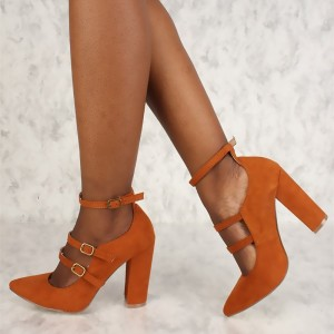Orange Pointy Toe Mary Jane Pumps Chunky Heels High Heel Shoes