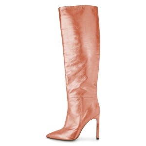 Orange Stiletto Boots Sexy Pointy Toe Knee-high Boots
