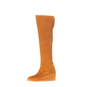Orange Suede Long Boots Platform Heel Knee-high Boots