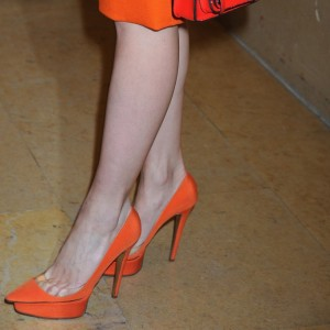 Orange Suede Platform Heels Pointy Toe Stiletto Heels Pumps