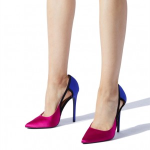 Orchid and Blue Office Heels Pointy Toe Hollow out Stiletto Heel Pumps