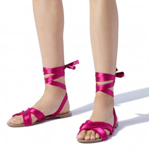 Hot Pink Flat Sandals Open Toe Satin Strappy Sandals