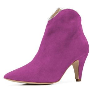 Orchid Suede Zipper Pointy Toe Cone Heel Ankle Booties