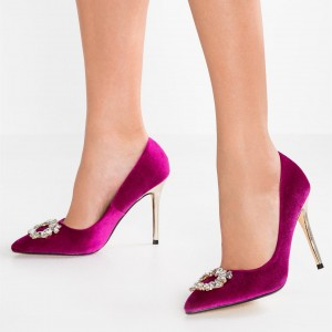 Orchid Velvet Office Heels Pointy Toe Stiletto Heels with Rhinestone