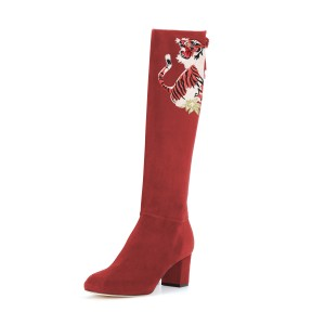 Red Tall Boots Tiger Print Suede Block Heel Fashion Boots