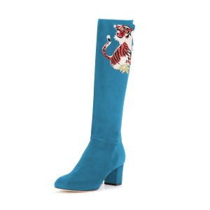 Women's Cyan Suede Floral Mid-Calf Chunky Heel Boots