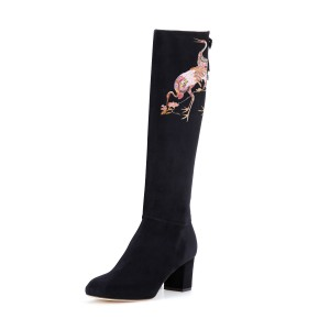 Women's Black Suede Crane Floral Mid-Calf Chunky Heel Boots