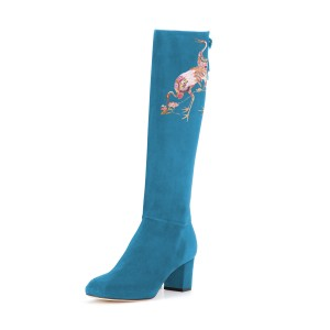 Women's Cyan Suede Crane Floral Mid-Calf Chunky Heel Boots