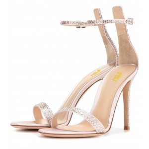 Women's Champagne Rhinestone Tuxedo Shoes Ankle Strap Stiletto Heel Wedding Sandals