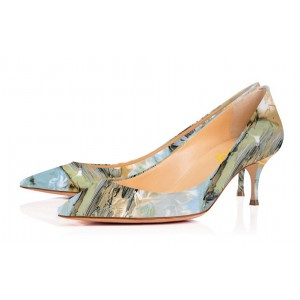 Light Blue Low-cut Abstract Painting Pointed Toe Kitten Heel Pumps