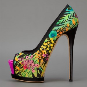 Multi-Color Peep Toe Satin Platform Floral Heels High Heel Pumps