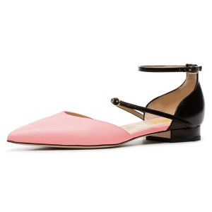 Pink and Black Ankle Strap Comfortable Flats Double D'orsay Pumps