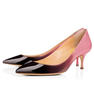 Pink and Black Gradient Kitten Heels Pointy Toe Patent Leather Pumps
