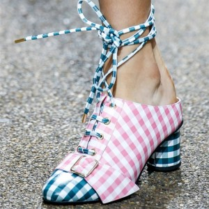 Pink and Blue Plaid Chunky Heels Ankle Strap Pumps