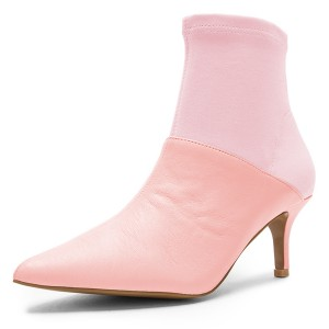 Pink and Blush Contrast Kitten Heel Ankle Booties