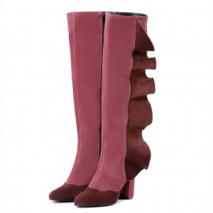 Pink and Burgundy Suede Boots Chunky Heel Calf Length Boots