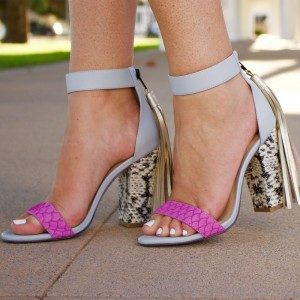 Pink and Grey Python Chunky Heel Sandals Ankle Strap Tassels Sandals
