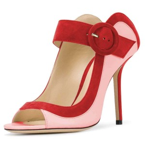 Pink and Red Suede Buckle Peep Toe Heels Pumps