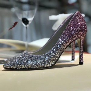 Pink and Silver Gradient Color Stiletto Heels Pointy Toe Glitter Pumps