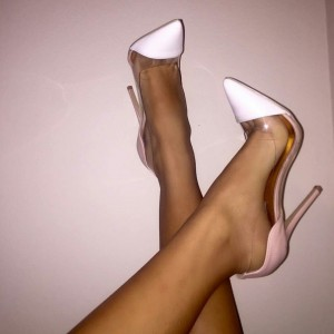 Pink and White Clear Heels Stiletto Heel Pumps