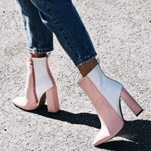 Pink and White Contrast Pointy Toe Block Heel Ankle Booties