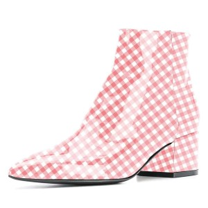 Pink and White Patent leather chequer Block Heel Ankle Boots