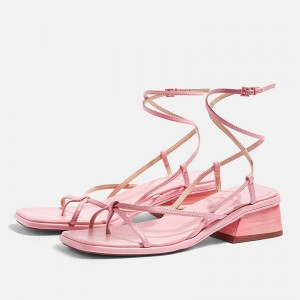 Pink Block Heel Strappy Sandals