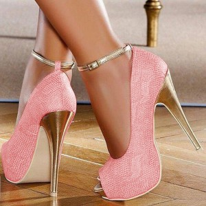 Pink Ankle Strap Heels Peep Toe Platform Pumps High Heels Shoes